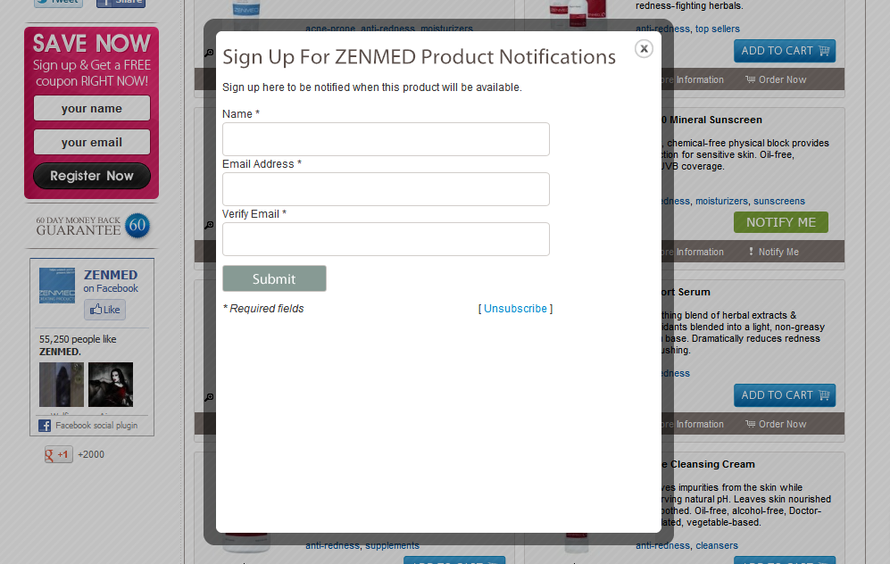 notify me about zenmed products